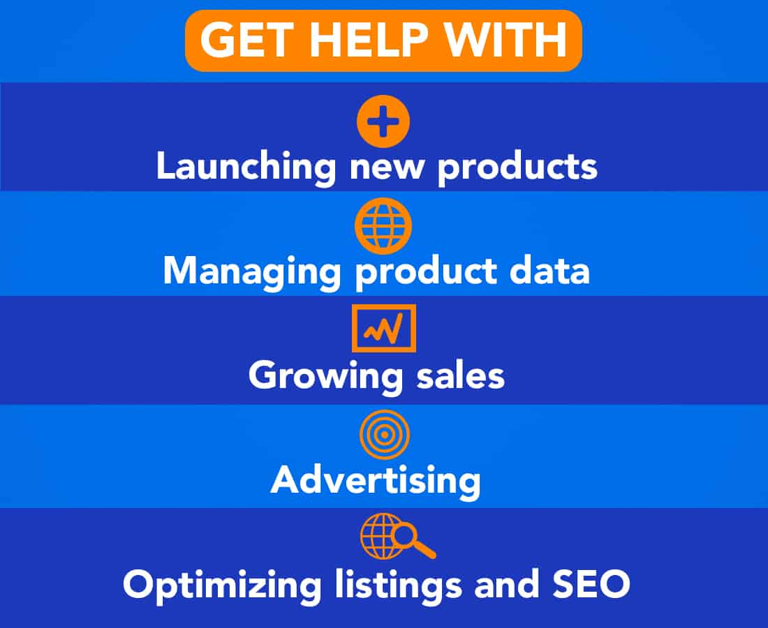 Areas Steven can help you with: Launching new products Managing product data Growing sales Advertising Optimizing listings and SEO