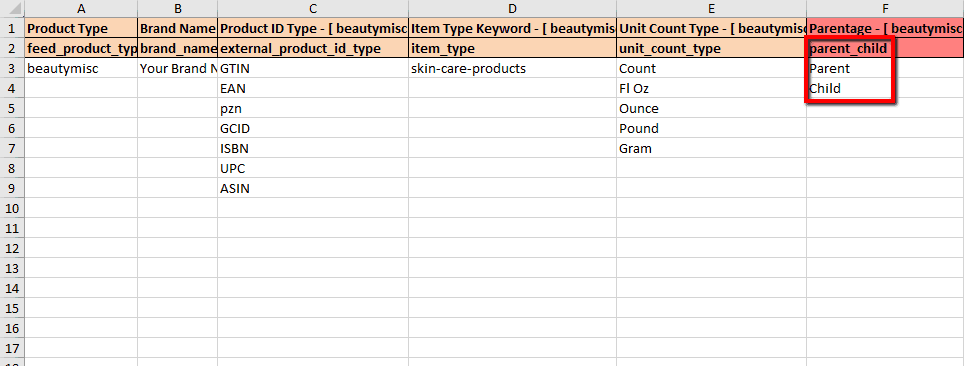 How to add products into an existing parentage via template on Amazon Seller Central 3