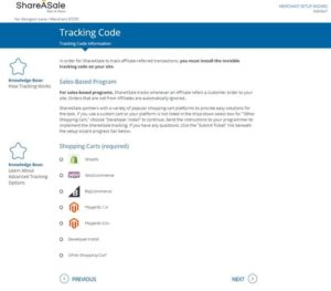 how to add a tracking code on share a sale. choose your shopping cart from shopify, woocommerce, bigcommerce, and magento.
