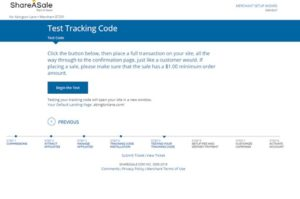 share a sale merchant setup step. test your tracing code by placing a full transaction.