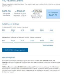 share a sale merchant account setup. fee depost. 550 setup fee plus minimum 100 dollar deposit.
