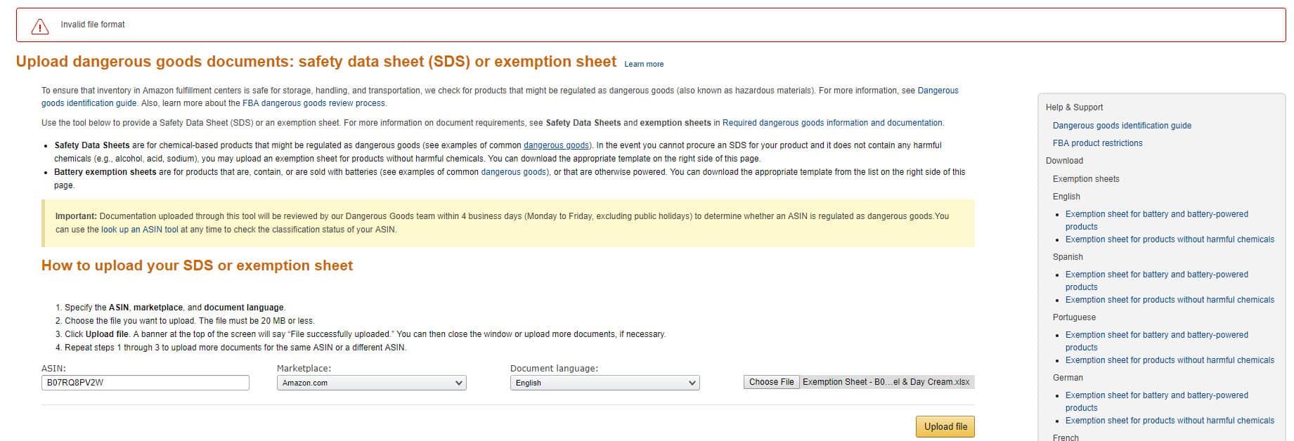 exemption sheet invalid file format amazon seller central hazmat dangerous goods upload error