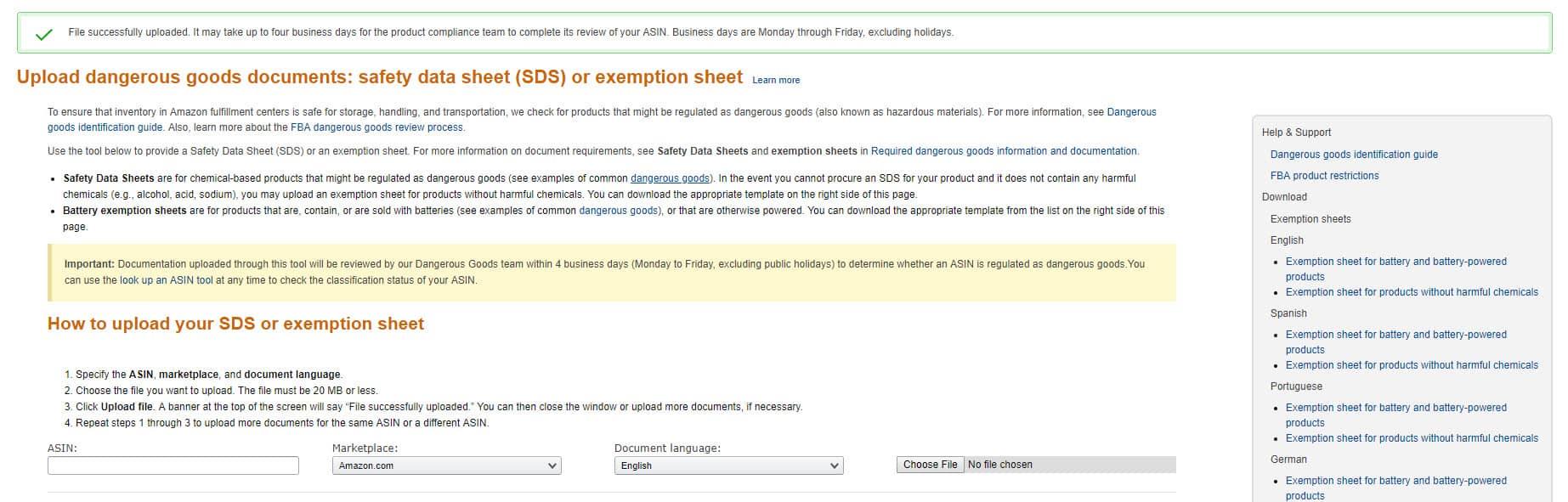 exemption sheet invalid file format amazon seller central hazmat dangerous goods upload error fix resolved solved