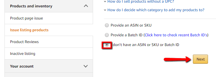 amazon seller central vendor asin sku batch id