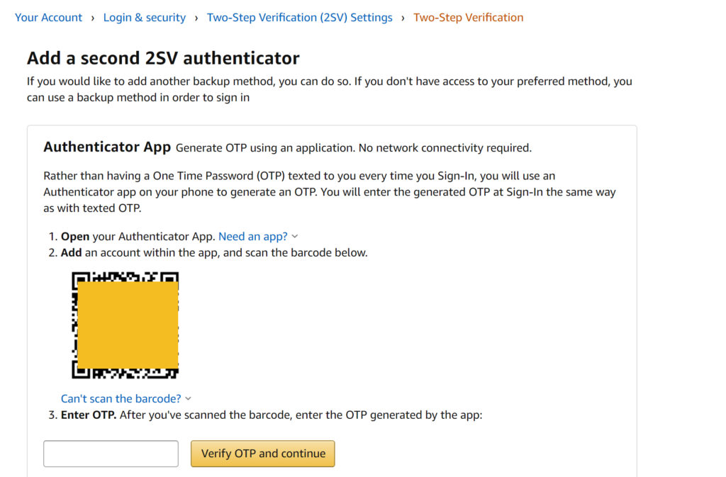 How to Setup Mobile Authenticator OTP One Time Password for Amazon 7